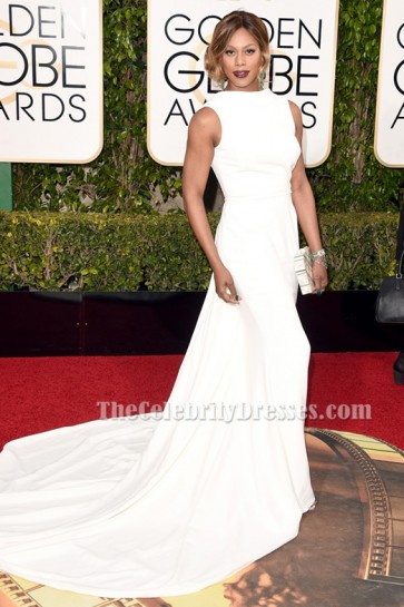 Laverne Cox White Formal Dress 73rd Annual Golden Globe Awards TCD6519