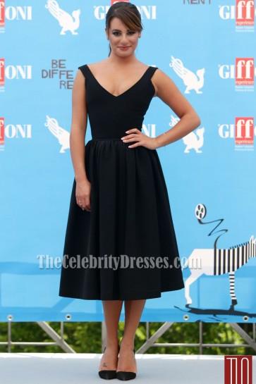 Lea Michele Black Cocktail Dresses Giffoni Film Festival