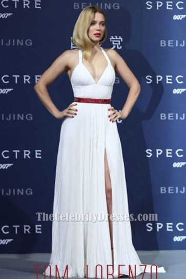 Lea Seydoux Sexy White Halter Evening Dress 'Spectre' Beijing Premiere TCD6417