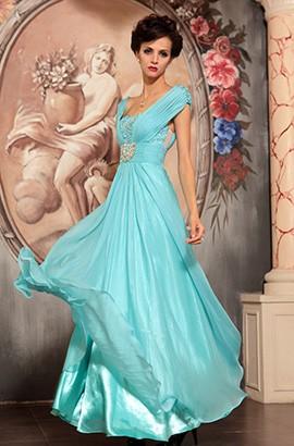 Light Sky Blue Beaded Formal Dress Evening Prom Gown