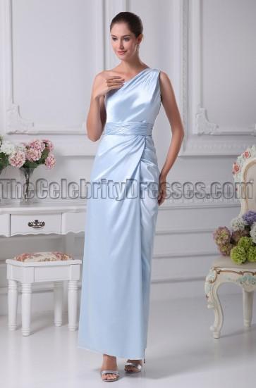 Light Sky Blue One Shoulder Bridesmaid Prom Dresses