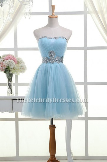 Light Sky Blue Strapless Sweetheart Tulle Beaded Homecoming Party Short Bridesmaid Dresses TCD6326