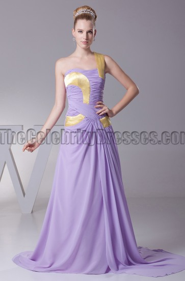 Lilac One Shoulder Prom Gown Evening Formal Dresses