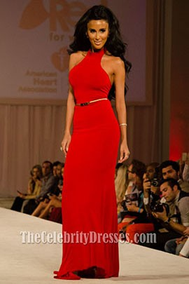 Lilly Ghalichi Red Halter Backless Evening Dress Prom Gown