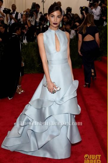 Lily Aldridge A-Line Formal Dress 2015 Met Gala Red Carpet Gown TCD6136
