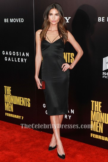 Lily Aldridge Knee Length Cocktail Party Dress 'The Monuments Men' premiere TCD6161