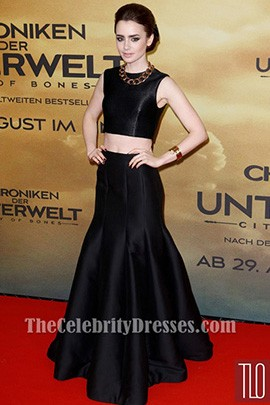 Lily Collins Black Prom Dress 'The Mortal Instruments City of Bones' Germany Premiere