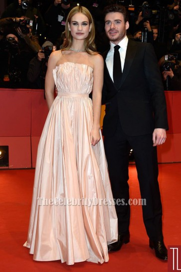Lily James Strapless Evening Dress'Cinderella' Berlin Film Festival Premiere TCD6039