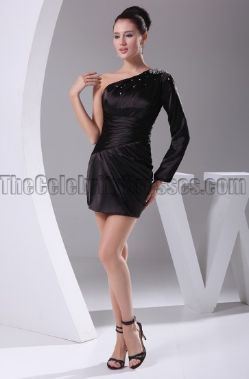 Celebrity Inspired One Sleeve Little Black Party Homecoming Dress