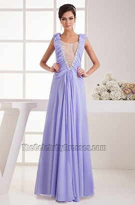 Long Lavender Chiffon Prom Gown Evening Formal Dresses