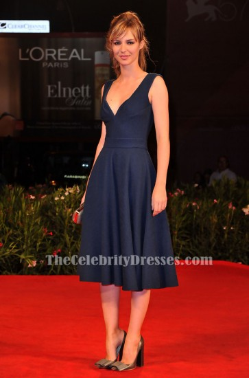 Louise Bourgoin Dark Navy Cocktail Party Dress 67th Venice Film Festival Red Carpet TCD6150