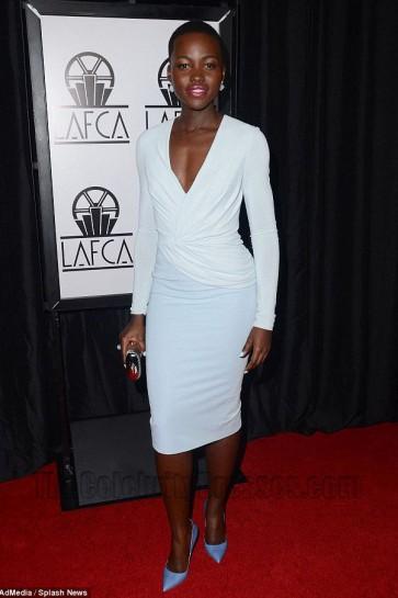 Lupita Nyong'o White Cocktail Dress Los Angeles Film Critics Awards