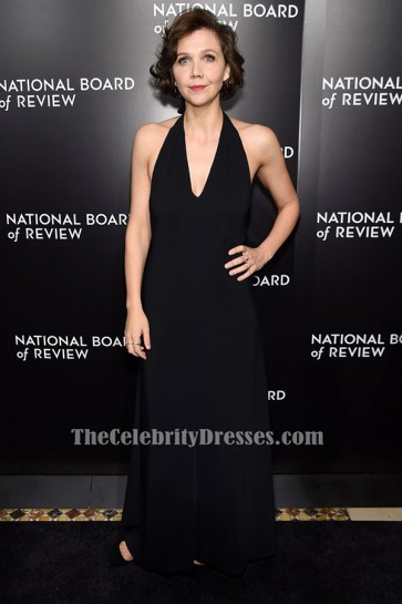 MAGGIE GYLLENHAAL Black Halter Evening Gown 2015 National Board of Review Gala TCD6492