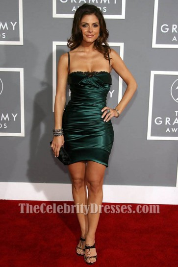 Maria Menounos Mini Dark Green Short Party Cocktail Dresses 49th Annual Grammy Awards TCD6095