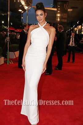 Megan Gale White Halter Prom Dress 2013 Logie Awards Red Carpet