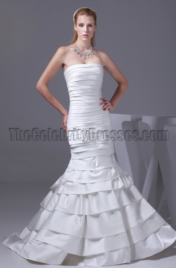 Discount Mermaid Strapless Chapel Train Wedding Dresses