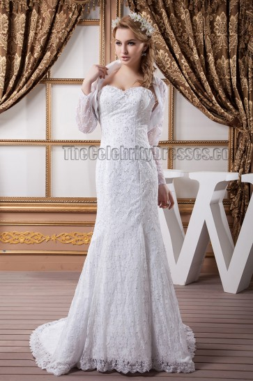 Mermaid /Trumpet Sweetheart Strapless Lace Wedding Dresses