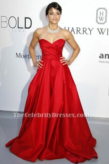 Michelle Rodriguez Red Formal Evening Dress 2015 amfAR Cinema Against AIDS Gala TCD6208