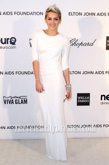 Miley Cyrus Backless White Evening Dress Elton John's Oscar Party