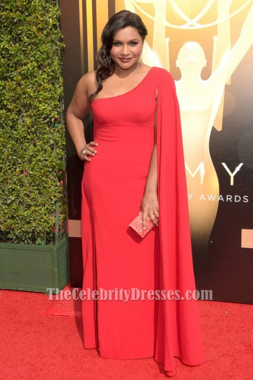 Mindy Kaling Red One Sleeve Formal Dress 2015 Creative Arts Emmy Awards Red Carpet TCD6304