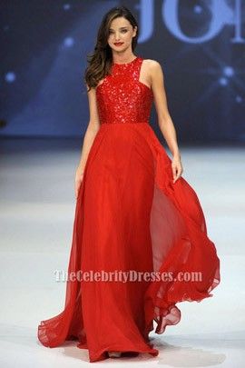Miranda Kerr Red Sequined Prom Dress Chiffon Skirt Evening Dresses