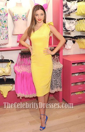 Miranda Kerr Yellow One Shoulder Party Cocktail Dress