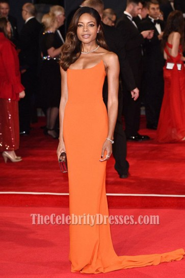 Naomie Harris Orange Strapless Evening Gown 'Spectre' London Premiere TCD6371