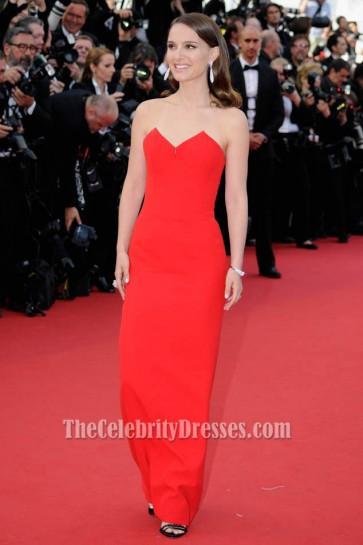 Natalie Portman Red Strapless Formal Dress Cannes Film Festival 2015 Red Carpet TCD6071