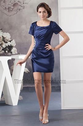 Navy Blue Short Sleeve Party Graduation Homecoming Dresses