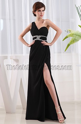New Style Black One Shoulder Evening Gown Pageant Prom Dress