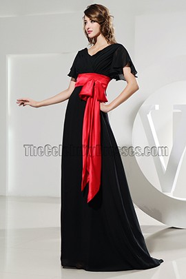 New Style Black V-neck Prom Evening Dresses With Red Belt
