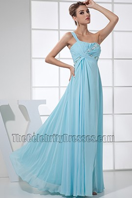 Ligth Sky Blue Chiffon One Shoulder Prom Dress Formal Dresses
