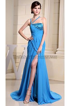 Blue Asymmetry Neckline Evening Dress Prom Formal Dresses