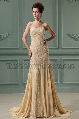 Elegant Strapless Mermaid Beaded Prom Dress Formal Dresses