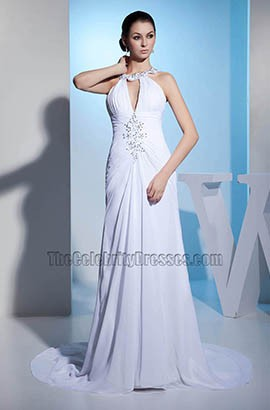 New Style Chiffon Chapel Train Wedding Dress With Beadwork