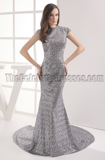 New Style Gray Mermaid Sequined Formal Dress Prom Gown