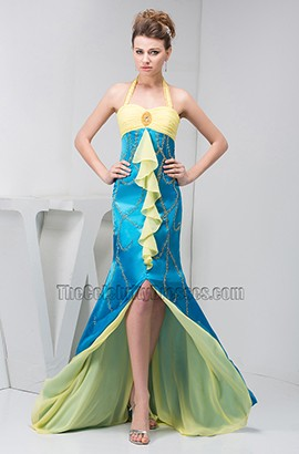 Blue And Daffodil Halter Formal Gown Evening Prom Dresses