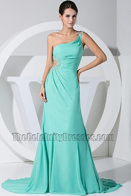 New Style Mint One Shoulder Cut Out Prom Dress Evening Dresses