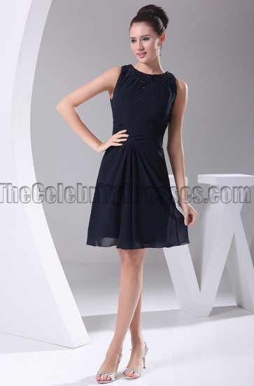 Dark Navy Chiffon Graduation Party Homecoming Dresses