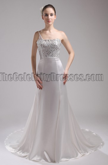 New Style One Shoulder Wedding Dress Formal Gown