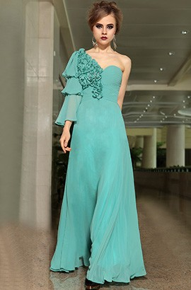 One Sleeve Floor Length Prom Gown Evening Dresses