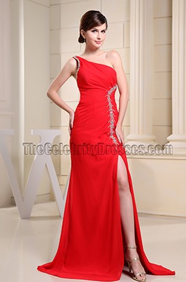 Red Beaded One Shoulder Formal Dress Prom Dresses