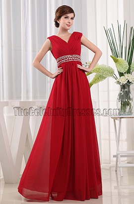 New Style Red V-neck Beaded Prom Dress Evening Dresses