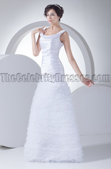 New Style Scoop Neckline Full Length A-Line Wedding Dress