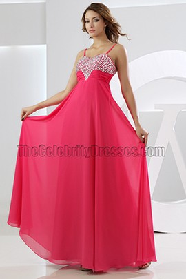 New Style Spaghetti Straps A-Line Chiffon Evening Dress Prom Gown