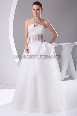 New Style Strapless A-Line Organza Wedding Dresses