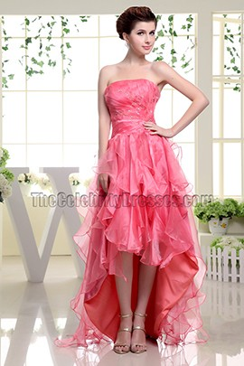 Watermelon Strapless A-Line Hi-Low Prom Gown Evening Dresses