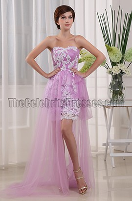 New Style Lilac Tulle Embroidery Prom Dress Party Dresses