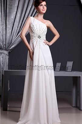 White One Shoulder Beaded Prom Dress Evening Dresses