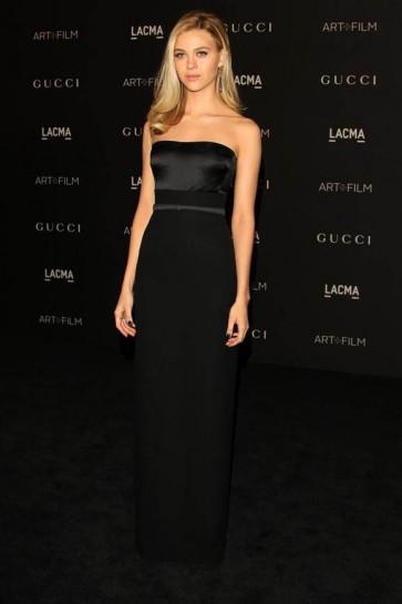 Nicola Peltz Black Strapless Evening Dress 2014 LACMA art and film festival TCD6403